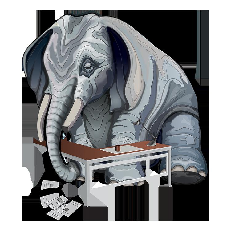 Grieving@Work - Elephant and Desk @150dpi
